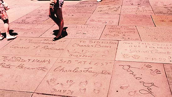 Footprints and handprints of Hollywood legends outside of Grauman's Chinese Theatre